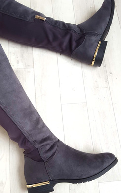 View the Jada Faux Suede Gold Bar Knee High Boots online at iKrush