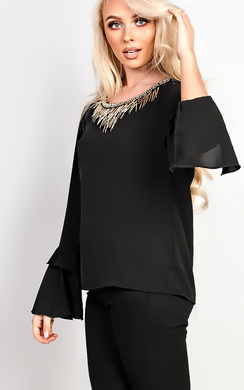 View the Lemy Flared Sleeve With Embellished Collar Blouse online at iKrush
