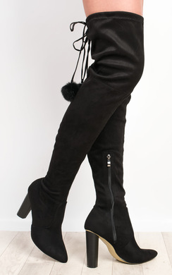 View the Blaire Pompom Faux Suede Knee High Boots  online at iKrush