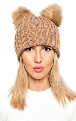 View the Bellamay Knit Double Pompom Hat online at iKrush