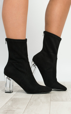 View the Kym Perspex Faux Suede Heeled Ankle Boots  online at iKrush