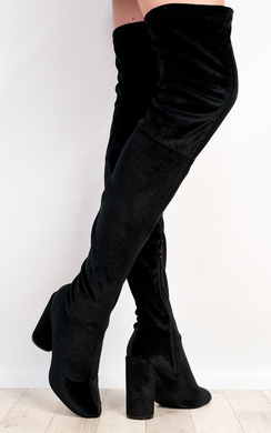 View the Selicia Velour Knee High Boots  online at iKrush