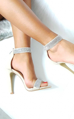 View the Vera Diamante Strap Barely There Heels online at iKrush