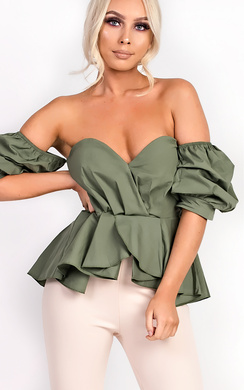 View the Beriska Bardot Ruffle Sleeve Peplum Top  online at iKrush