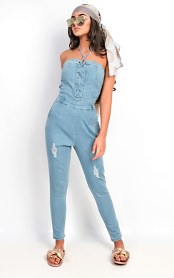View the Hope Bandeau Lace Up Denim Jumpsuit online at iKrush