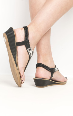 View the Arizona Black Embellished Wedge Sandals online at iKrush