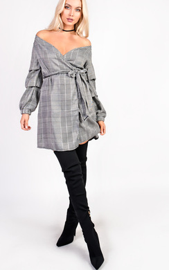 View the Hailey Checked Wrap Ruffle Sleeve Dress online at iKrush