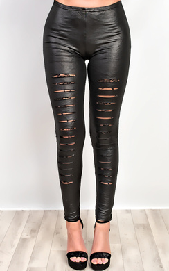 View the Chey Ripped PU Leggings online at iKrush