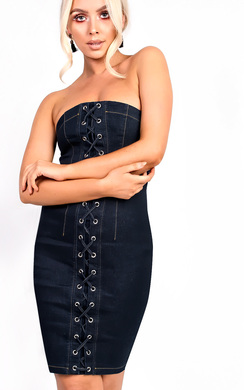 View the Azelia Denim Bandeau Lace Up  Bodycon Dress online at iKrush