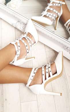 View the Millia Multi Strap T-Bar Studded Court Heels online at iKrush