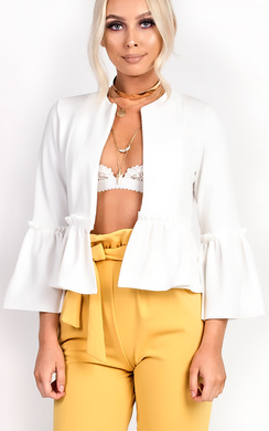 View the Phoebe Collarless Frill Bell Sleeve Blazer Jacket online at iKrush