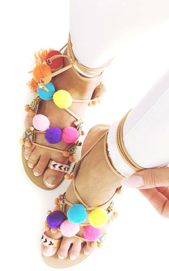 View the Pallavi Pom Pom Sandals online at iKrush