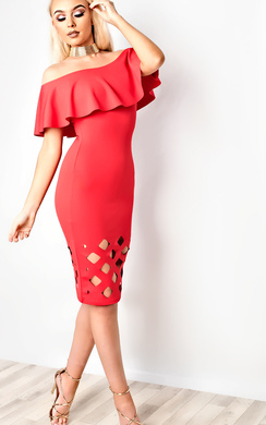 View the Samanthia Lasercut Off Shoulder Bodycon Dress online at iKrush