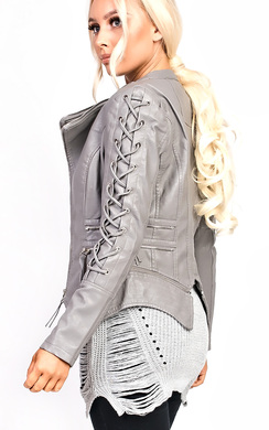 View the Kira Faux Leather Lace Up Jacket online at iKrush