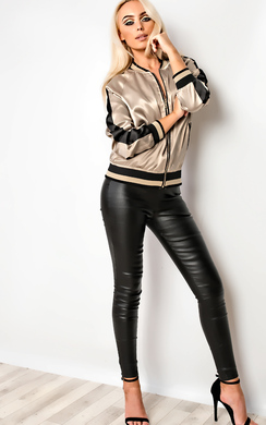 View the Brandi Satin Bomber Jacket online at iKrush