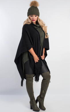 View the Rowli Chunky Knit Cape online at iKrush