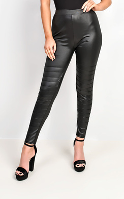 View the Yazmin Leather Look Panel Leggings online at iKrush