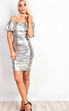 View the Lacey Metallic Off Shoulder Bodycon Dress online at iKrush