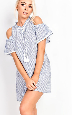 View the Lidia Babydoll Checked Dress online at iKrush