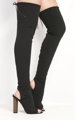 View the Katarina Peep Toe Knee High Boots online at iKrush