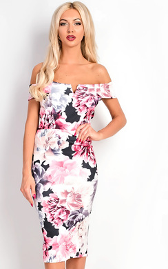 View the Taliana Bardot Floral Midi Dress online at iKrush