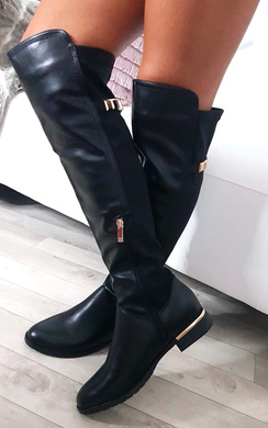 View the Jada Faux Leather Gold Bar Knee High Boots online at iKrush