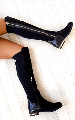 View the Tai Faux Suede Gold Bar Knee High Boots online at iKrush