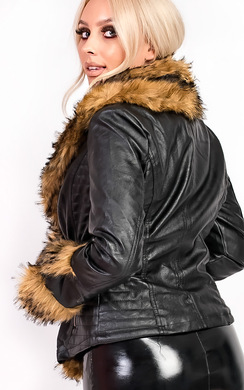 View the Rhianna Faux Fur Biker Jacket online at iKrush