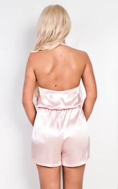 View the Bethany Halterneck Satin Playsuit online at iKrush