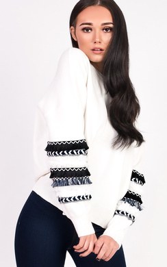 View the Robyn Embroidered Panel Sleeve Knitted Jumper  online at iKrush