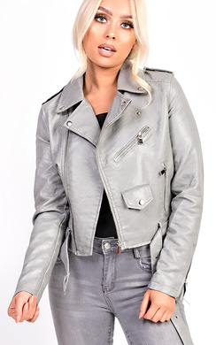 View the Leyla Biker Faux Leather Jacket online at iKrush