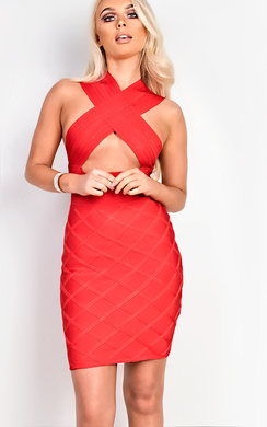 View the Charlay Red Bodycon Bandage Dress online at iKrush