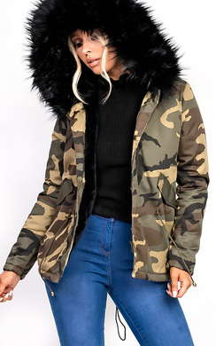 View the Sara Faux Fur Camo Parka online at iKrush
