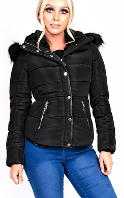 View the North Padded Faux Fur Hooded Jacket online at iKrush