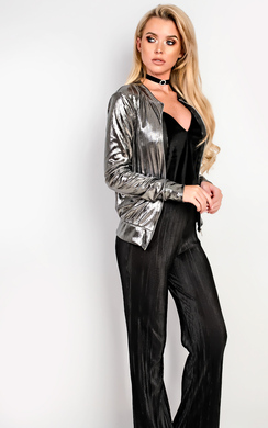 View the Yasmine Metallic Bomber Jacket online at iKrush