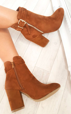 View the Misa Buckle Faux Suede Ankle Boots online at iKrush