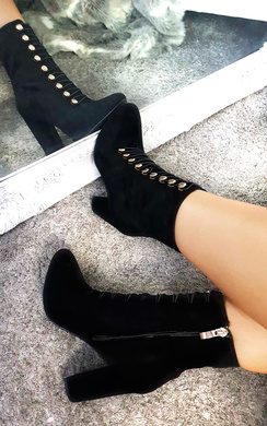 View the Elle Faux Suede Corset Ankle Boots online at iKrush
