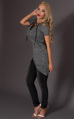 View the Rowan Lace Up Asymmetrical Top online at iKrush