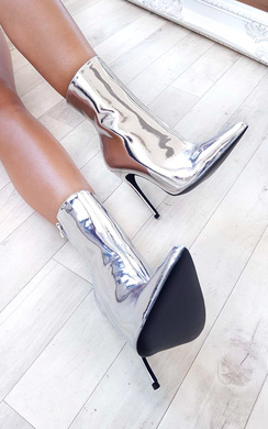 View the Meghan Chrome Stiletto Ankle Boots online at iKrush