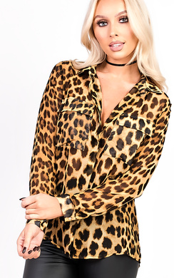 View the Izzie Pocket Leopard Print Blouse Top online at iKrush
