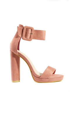 View the Lilly Faux Suede Buckle Platform Heels online at iKrush