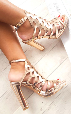 View the Riley Cut Out Chrome High Heels  online at iKrush