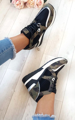 View the Lou Mesh Chrome Wedge Trainers online at iKrush