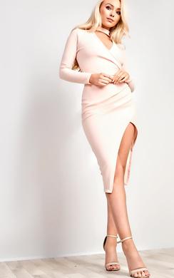 View the Serena Choker Gathered Bodycon Dress online at iKrush