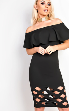 View the Samanthia Lasercut Off Shoulder Bodycon Dress online at iKrush