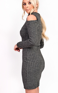 View the Elsa Choker Neck Knit Dress online at iKrush