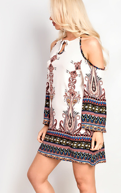 View the Merilee Cold Shoulder Pattern Dress  online at iKrush