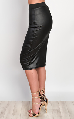 View the Camilla Faux Leather Skirt  online at iKrush