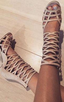 View the Justina Peep Toe Cage Heels online at iKrush