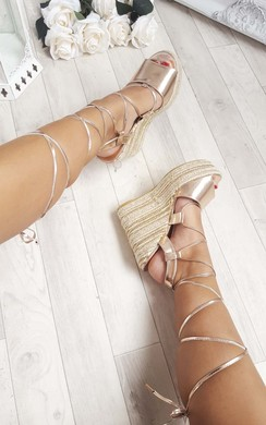 View the Kara Espadrille Metallic Faux Suede Wedge Sandals online at iKrush